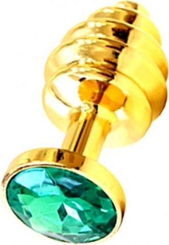 Анальная пробка с изумрудным кристаллом, золотая