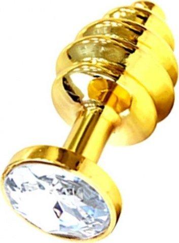 Анальная пробка с прозрачным кристаллом, золотая