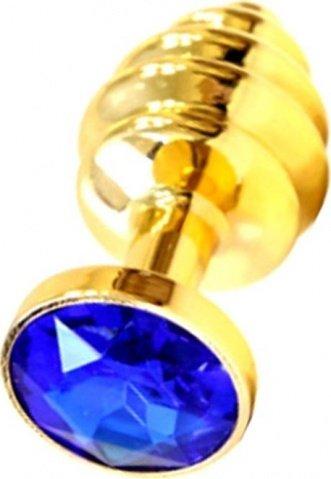 Анальная пробка с синим кристаллом, золотая