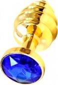 Купить анальные пробки с кристаллом. Анальная пробка с синим кристаллом, золотая. Магазин интим игрушек.