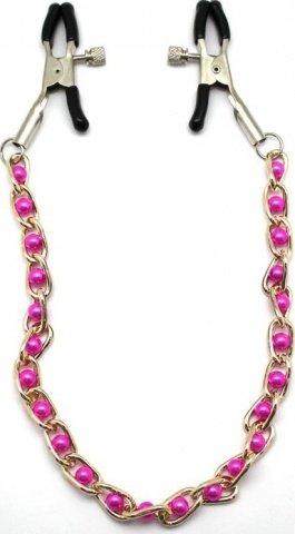 Зажимы для груди с цепочкой, перламутрово-розовые, фото 2