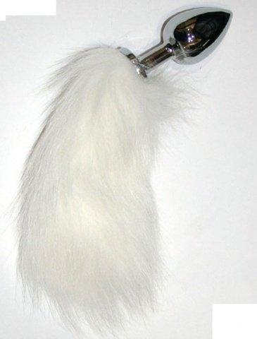 Анальная пробка с белым хвостиком, серебряная, длина хвоста 15 см, 30 х220 мм
