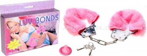 Наручники розовые плюшевые Luv-Bonds, фото 2