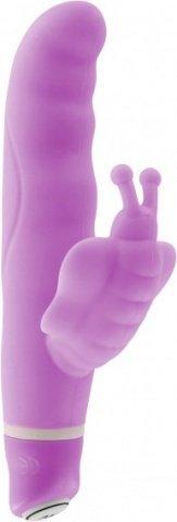 Вибратор с клиторальным стимулятором фиолетовый 8 см Vibe Therapy Monarch