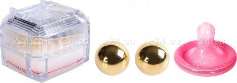 Вагинальные шарики утяжеленные маленькие без сцепки золотистые