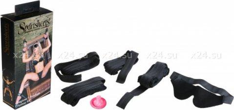 Набор (4 манжеты+ 1 повязка на глаза) черный beginners bondage fantasy kit
