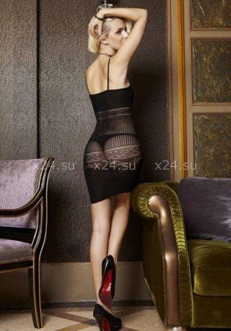 Бесшовное черное мини-платье с узором в подарочной коробке, фото 4