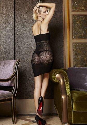 Бесшовное черное мини-платье с узором в подарочной коробке, фото 5