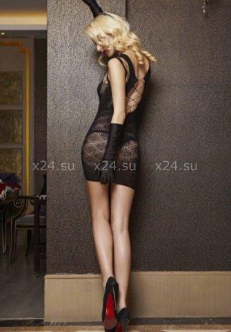Бесшовное черное платье с разрезами в подарочной коробке, фото 2