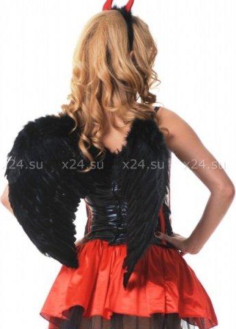 Крылья перьевые, закругленные, черные, 60 х50 см