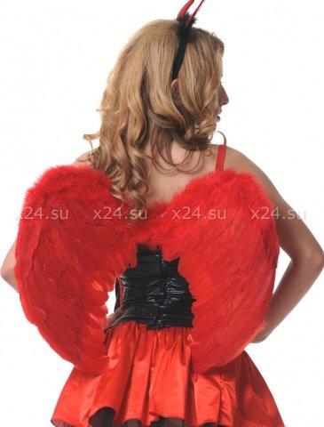 Крылья перьевые, закругленные, красные, 60 х50 см