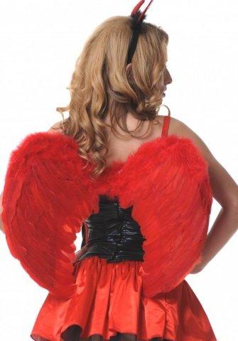 Крылья перьевые, закругленные, красные, 60 х50 см, фото 2