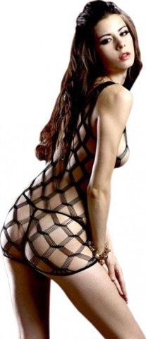 Мини-платье на бретельках, в крупную ячейку, черное, размер универсальный, фото 2