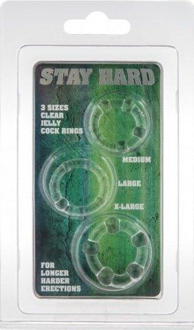 Три эрекционных кольца разного диаметра stay hard clear 4358, фото 2