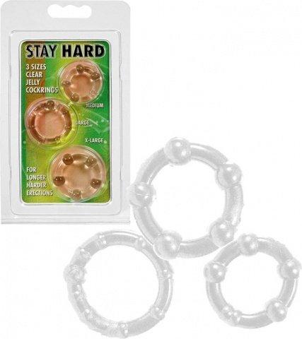 Три эрекционных кольца разного диаметра stay hard clear 4358, фото 4