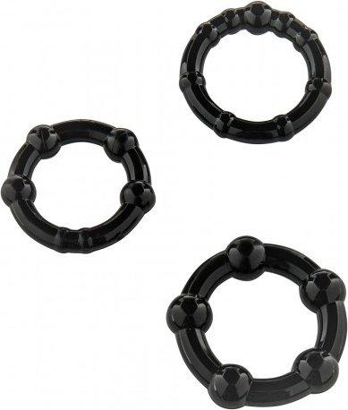 Три эрекционных кольца разного диаметра stay hard black 4693