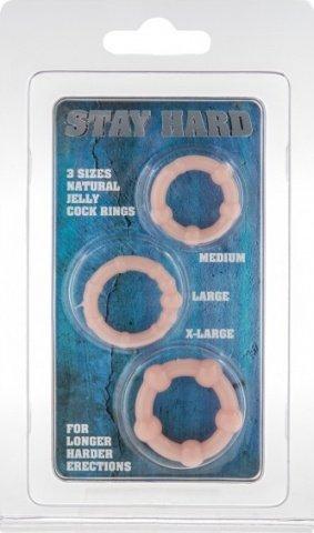 Три эрекционных кольца разного диаметра stay hard flesh 4357, фото 2