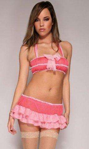 -Топ + юбка + стринги розов, фото 2