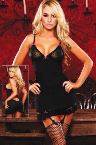 Черное платье с подвязками для чулок