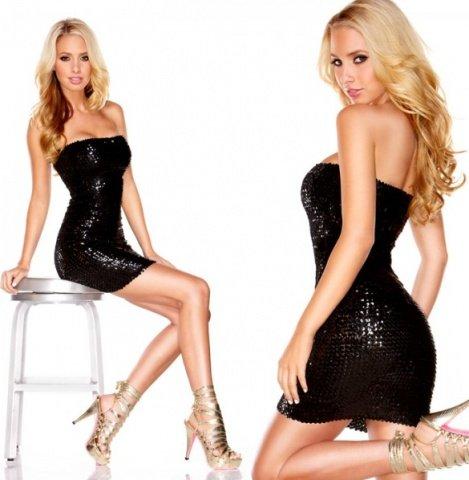 Черное платье-бандо с пайетками the spark ing queen