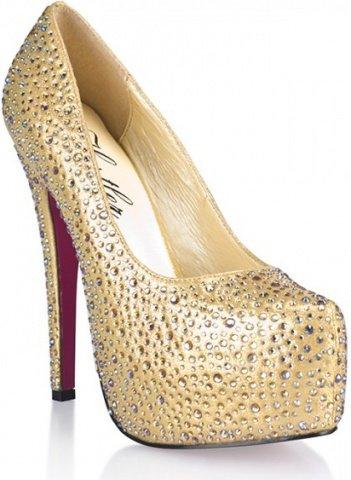 Золотистые туфли с кристаллами golden diamond 7