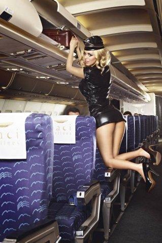 Игровой костюм обольстительная стюардесса: пиджак, мини-юбка, значок, галстук и пилотка, фото 2
