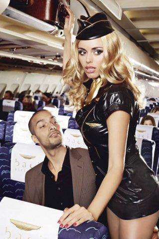 Игровой костюм обольстительная стюардесса: пиджак, мини-юбка, значок, галстук и пилотка, фото 3