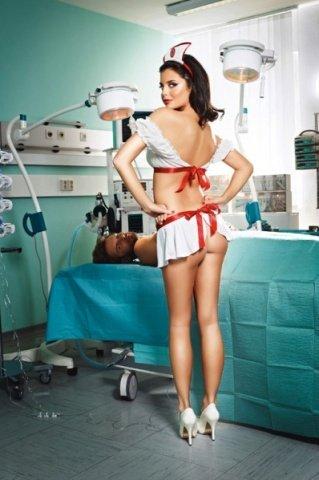 Игровой костюм экставагантная медсестра: блузка, юбка-фартук, чапец, фото 2