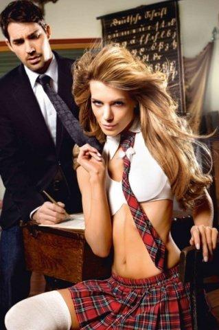 Игровой костюм модная школьница: блузка (топ), юбка, галустук, фото 3
