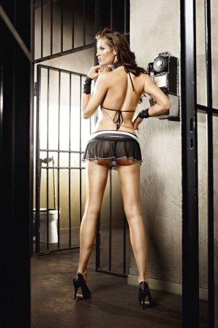 Игровой костюм ночной полицейский: топ, мини-юбка, ремень, значок и фуражка, фото 2