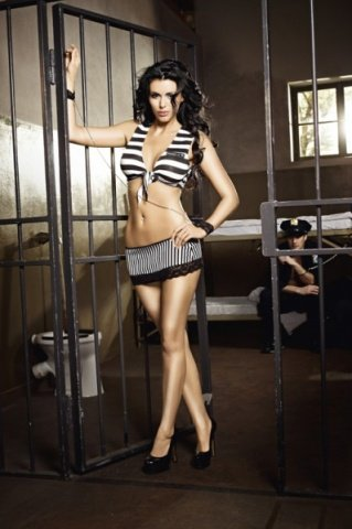 Игровой костюм пленница секса: топ, мини-юбка, манжеты с цепью