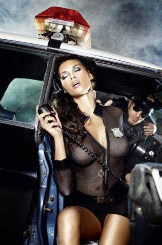 Игровой костюм полиция нравов: рубашка, трусики, пояс, значок и фуражка, фото 3