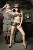 Игровой костюм сексуальная сержантка: топ и мини-юбка - Секс-шоп Мир Оргазма