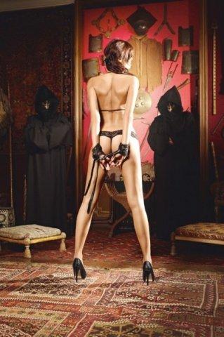 Игровой костюм раба господина: бюстгалтер, трусы, маска, наручники, фото 2