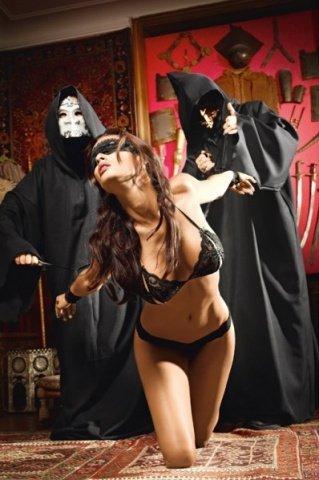 Игровой костюм раба господина: бюстгалтер, трусы, маска, наручники, фото 3