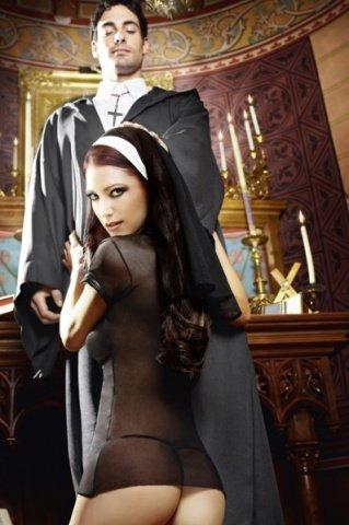 Игровой костюм очаровательная монашка: мини-платье и головной убор, фото 3