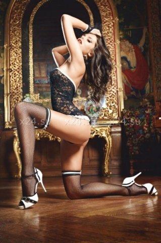 Черные чулки в сеточку с белыми лентами French Maid