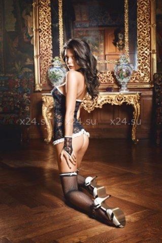 Черные чулки в сеточку с белыми лентами French Maid, фото 2