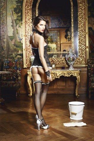Игровой костюм сексуальная служанка: мини-платье, манжеты и воротничок, фото 2