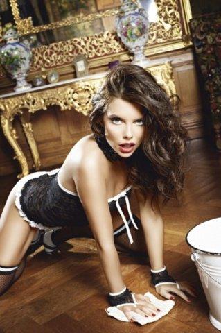 Игровой костюм сексуальная служанка: мини-платье, манжеты и воротничок, фото 3