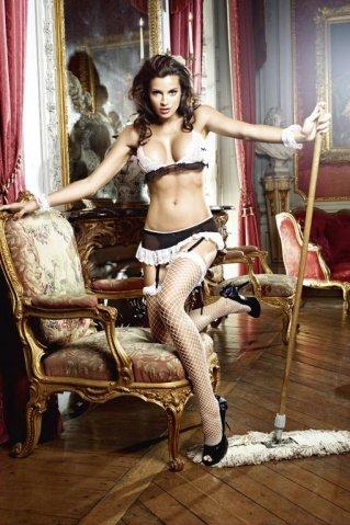 Игровой костюм сексуальная горничная: топ, мини-юбка с подвязками, трусики, кружевные манжеты