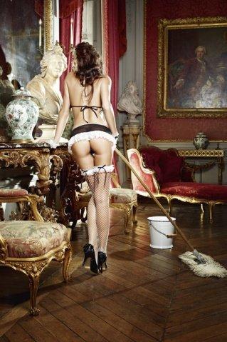 Игровой костюм сексуальная горничная: топ, мини-юбка с подвязками, трусики, кружевные манжеты, фото 2