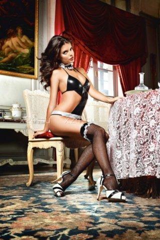 Чулки Private French Maid высокие в мелкую сетку черные ( )