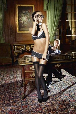 Игровой костюм секретарша секси: топ, мини-юбка, воротничок и галстук