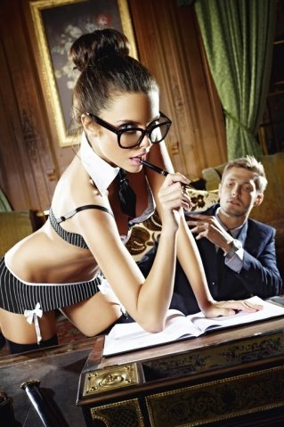 Игровой костюм секретарша секси: топ, мини-юбка, воротничок и галстук, фото 3