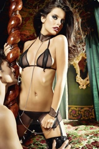 Игровой костюм молния любви: топ, мини-юбка и кружевные манжеты и воротничок с цепью, фото 3