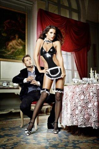 Игровой костюм соблазнительная официантка: боди с фартуком и воротничок