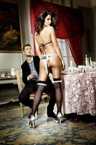Игровой костюм соблазнительная официантка: боди с фартуком и воротничок, фото 2