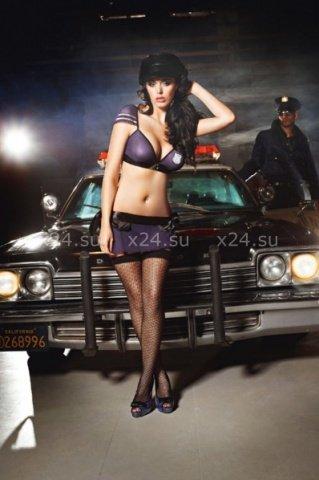 Чулки Night Patrol Police с узором высокие черные ( )