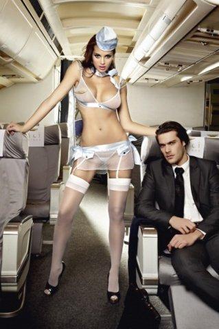 Игровой голубой костюм улетная стюардесса: топ, мини-юбка, шарф, значок и пилотка